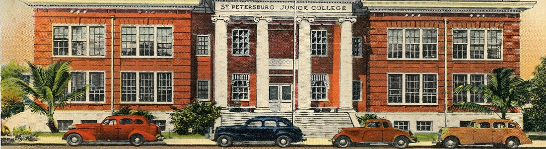 picture of an old postcard showing cars in front of the campus (links to SPC publications)
